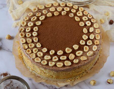 Ciasto z kremem Nutella i spodem z ciasteczek