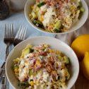 Sałatka makaronowa z tuńczykiem, ogórkiem i kukurydzą