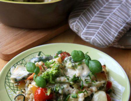 Zapiekanka z pęczakiem i warzywami