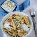 Makaron z boczkiem, porem i sosem gorgonzola